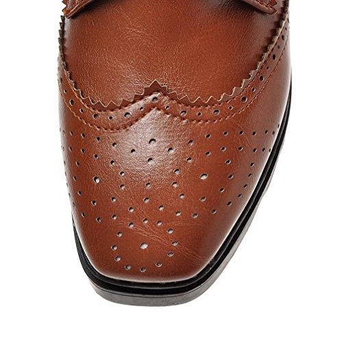AllhqFashion Damen Schnüren Quadratisch Zehe Mittler Absatz Pu Leder Rein Pumps Schuhe Braun