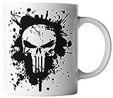 vanVerden Tasse Totenkopf Skull Punisher Big Dot inkl. Geschenkkarte, Farbe:Weiß/Bunt