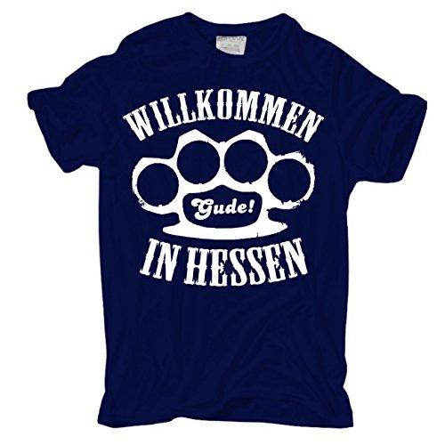 Männer und Herren T-Shirt Willkommen in Hessen Dunkelblau