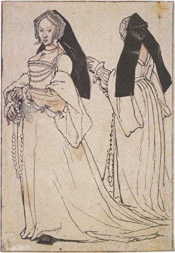 Da Kostüme Trägt (Das Museum Outlet–Zwei Ansichten von A Lady trägt eine Englisch Kapuze, Kostüm Studie. 1526_ 28oder c.1532_ 35–Poster)