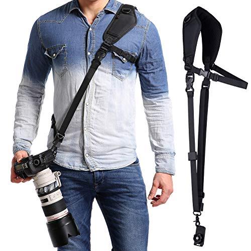 waka Kameragurt schnellverschluß Neopren Schwarz Kamera Tragegurt Verstellbarer Schultergurt Gurt mit Unterarm-Gurt Camera Strap für Canon Nikon Sony Fujifilm Olympus DSLR SLR -