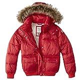 Abercrombie Damen Fur Trim Hooded Puffer Mäntel Jacke, Größe Medium, Rot (624717835)