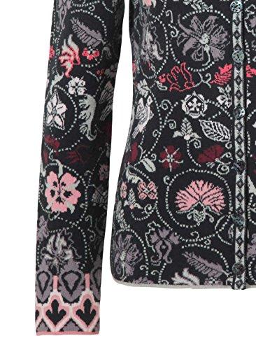 Klassische Strickjacke aus blumigem Baumwoll-Jacquard von Ivko in Anthrazit Anthrazit
