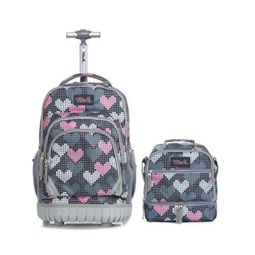 Schulrucksack mit Rollen Kühltasche für Mädchen,Tilami Schultrolley Schultaschen Isoliertasche Lunchtasche für Kinder Junge und Mädchens Klasse 3-12 Herzen