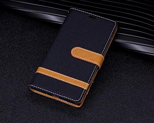 LEMORRY Sony Xperia XZ1 / F8342 Custodia Pelle Cuoio Flip Portafoglio Borsa Sottile Bumper Protettivo Magnetico Morbido Silicone TPU Cover Custodia per Sony XZ1, Stile del Denim Blu Scuro Nero