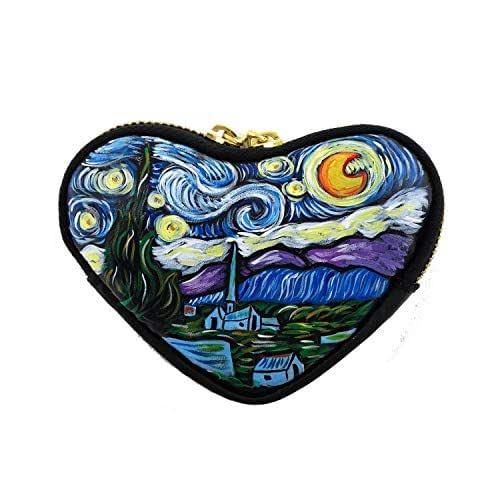 Portamonete dipinto a mano - LA NOTTE STELLATA DI VAN GOGH - Porta monete da donna a forma di cuore per rossetto, carta credito, portachiavi, Mini Portafogli, Lavorazione Artigianale
