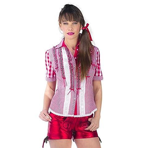 Trachtenbluse Karo Deluxe Damen rot-weiß mit Spitze und Rüschen zum Oktoberfest - L