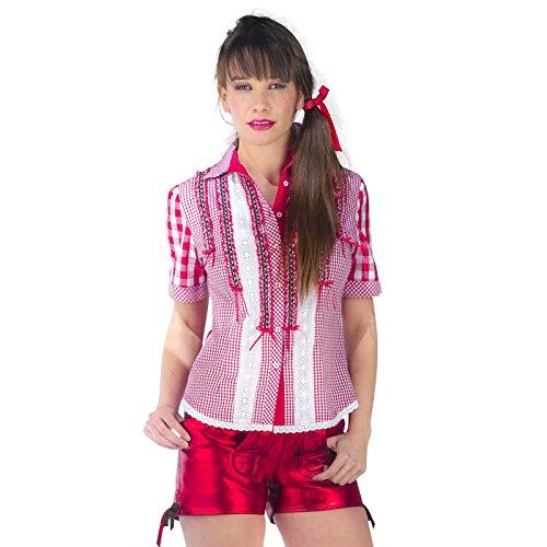 Oktoberfest Fraulein Kostüme Womens (Trachtenbluse Karo Deluxe Damen rot-weiß mit Spitze und Rüschen zum Oktoberfest -)