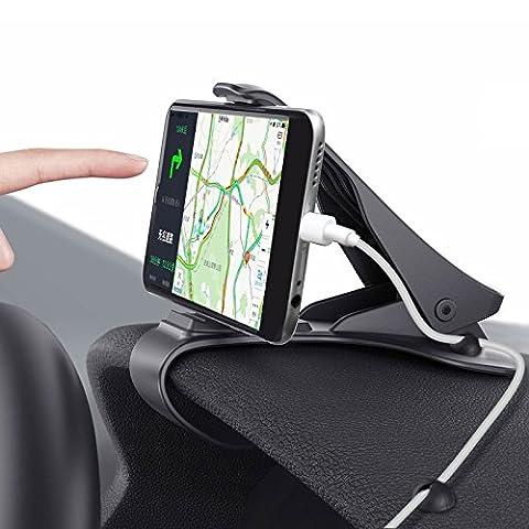 Support Voiture Auto, M.Way Support Téléphone Universel Portable Fixation Puissante pour iPhone 7 7 Plus 6 6s Plus, Nokia, Wiko, Huawei, HTC, Sony et d'Autre Smartphone Tablet GPS Moins de 6,5 pouces