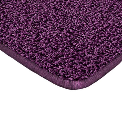 Floori Shaggy Hochflor Teppich - 200x290cm - moderner Wohnzimmerteppich - Berry - Purple Shag Teppich