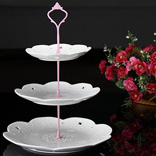 pcake Ständer Tortenplatte Gebäck Teller Party, Pink, 3 Ablagefächer (Kunststoff 3-tier-kuchen-stand)