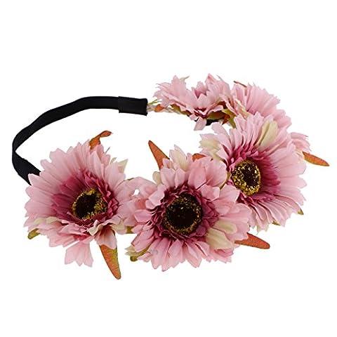 Gazechimp Bandeau Couronne Fleur Marguerite en Tissu Bande Elastique Accessoire pour Fête Mariage -