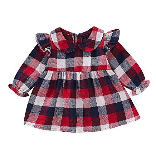 Kobay Babykleid Festlich Langarm Long Lantern Sleeve Rüschen Mädchen Plaid Princess Dress Cloth(18-24M,Rot)