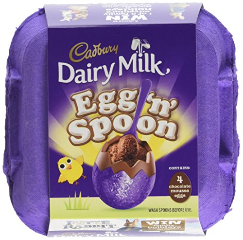 Cadbury Double Chocolate 4 Egg and Spoon 136g (Pack of 8, Total 32 Eggs)