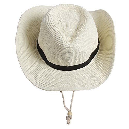 (Sidiou Group Männer Western Stroh Cowboy Hut Frauen Strand Cap Wide Brim Kirche Cap Unisex Fedora Trilby Sonnenhut Gambler Hut mit Kinnriemen (Weiß))