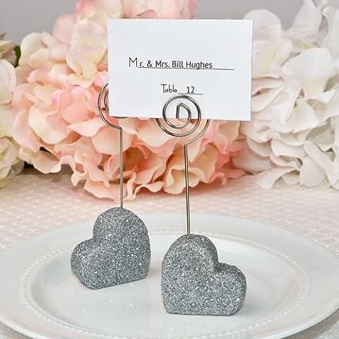6 Coeur Themed Glitter Nom / Memo Remarque pour mariage Porte-cartes Faveurs cadeaux - Argent