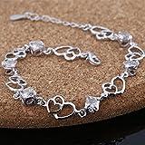 Contever® Charm & Bead ELEMENTS Kristall Armbänder 925 Silber Armreif für Damen (Silber) - 2