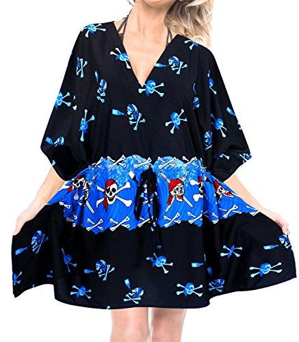 LA LEELA Schädel Halloween Skelett Kürbis Teufel Kostüm Frauen Badeanzug Bikini Strand Badebekleidung Kimono Kleid Kaftan blau verschleiern (Halloween-kostüm Teufel Blaues Kleid)