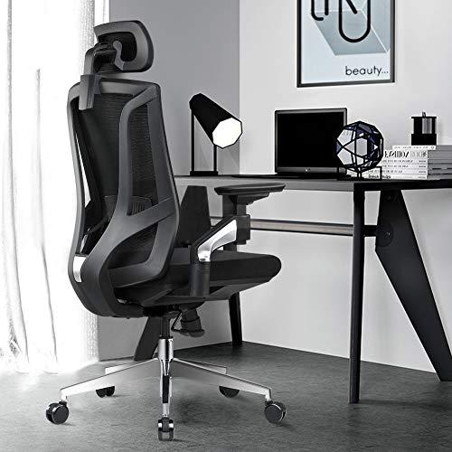 ANGEL QUEEN Bürostuhl Schreibtischstuhl ergonomischer Drehstuhl mit verstellbare Kopfstütze und 4D-Armlehnen, Sitzhöhe und Wippfunktion, Belastbar bis 200 kg, Schwarz