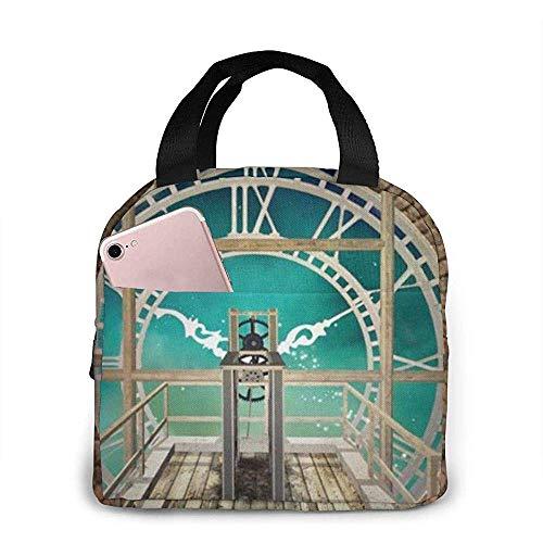 steampunk clock lunch tote bag borsa termica isolata riutilizzabile per pranzo al sacco per uomo, donna, scuola, viaggio di lavoro
