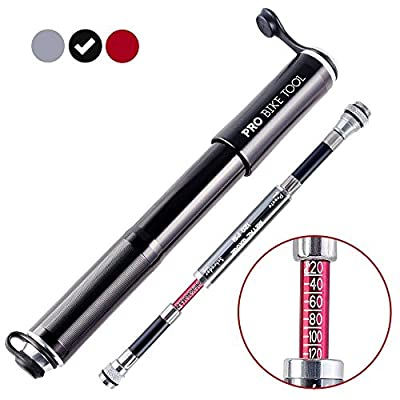**FLASH SALE** Mini Bike Pump with Gauge by PRO BIKE TOOL - Presta & Schrader Valve Compatible - Reliable, Quick & Easy Bicycle Tyre Pump for Road, Mountain & BMX Bikes - High Pressure 120 PSI