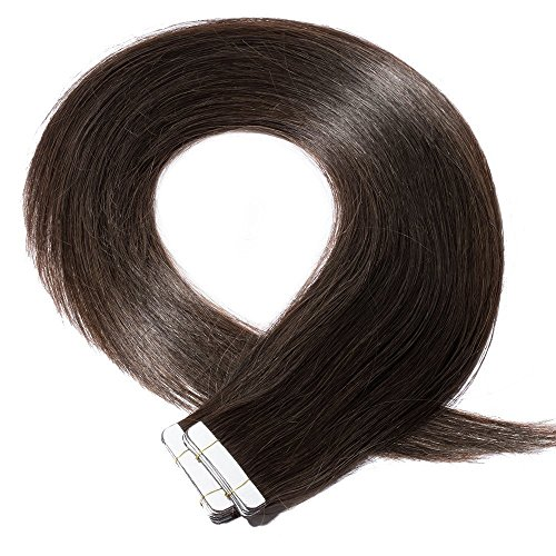 40cm extension capelli veri biadesivo adesive 20 fasce 50g remy human hair - tape in extensions allungamento lisci, #2 marrone scuro