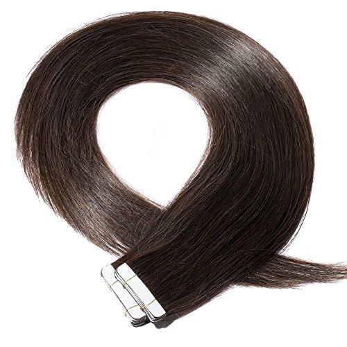 Extension biadesivo capelli veri castano extensions adesive 20 fasce 50g/set 100% remy human hair - tape in hair estensioni allungamento (55cm #2 marrone scuro)
