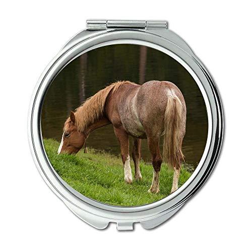 Yanteng Spiegel, Schminkspiegel, Tierfeld Gras, Taschenspiegel, tragbarer Spiegel