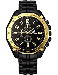 Orlando® Branded Chronograph Look With Black Dial, Black & Gold Plated Metal Belt Watches For Men - W1307BG