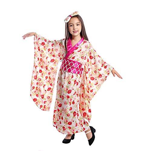 LOLANTA 3pcs Kind Mädchen japanische Sakura Casual Kimono Kostüm Robe Yukata Theme Party Kleid (7-9 Jahre) (Japanische Yukata Kostüm)