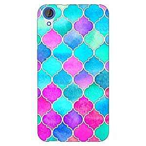 Jugaaduu Pink Blue Moroccan Tiles Pattern Back Cover Case For HTC Desire 820 Dual Sim