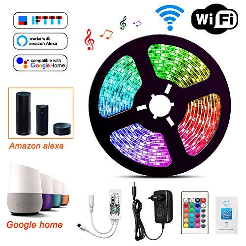 Wlife Wifi Led Streifen, 5m RGB Dimmar Led Stripes Controller mit Alexa,Google Home,IFTTT, Wireless Smart Phone Gesteuert Full Kit, IP65 Wasserdichte, SMD 5050 16 Millionen Farben,12V 3A Netzteil