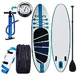 Cw Aufblasbares Surfbrett mit verstellbarem Paddel, Knöchelriemen, Pumpe und Tragetasche, 300 cm