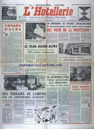 HOTELLERIE (L') du 01/09/1960