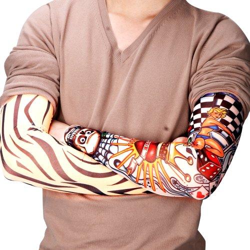 6x Arm Griff Manschettenknöpfe PU temporäre Fake Tattoo Tattoo Zeichnungen Motiv Sleeve 40–55cm elastisch Kostüm Kostüm (Kostüme Zeichnungen)