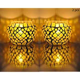 Party Decorations Table Top Glass Votive Candle Holder Yellow Color 3 Inch ( 2 Pcs )