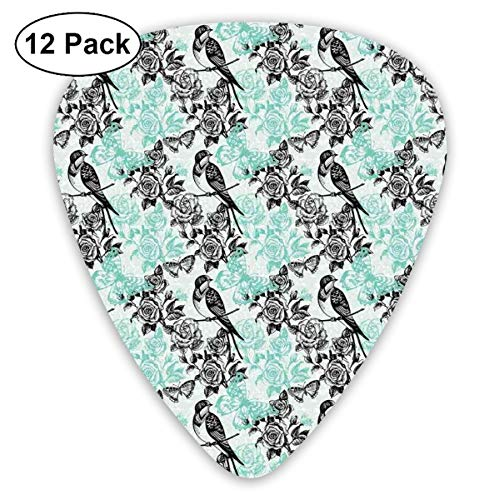 Celluloid Guitar Picks - 12 Pack,Abstract Art Colorful Designs,Pigeon Bird On A Rose Branch With Butterflies In Secret Garden Classical Print,For Bass Electric & Acoustic Guitars. -