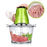 Food Chopper Electric Meat Grinder Machine Kitchen Aid Mini Food Processor 2L BPA-Free Glass Bowl Grinder for Meat Vegetables Fruits and Nuts Chopper 220V-50 Hz Baby Food