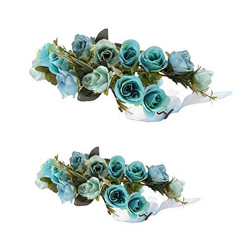 ädchen Blumenkranz Krone Haarband Haarband Stirnband Party Girlande - Blau Erwachsener Kinder ()
