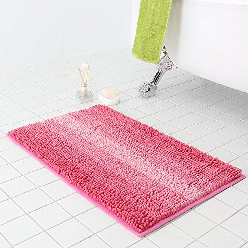 KKLTDI Stripe Chenille Badematte, Gemütlich Weich Absorbent Badvorleger Dick Plüsch Badteppich Für Wanne Toilette-rosa 80x50cm(31x20inch) - Chenille Multi Stripe