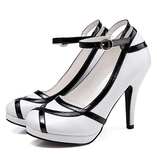 Getmorebeauty  Update,  Damen Durchgängies Plateau Sandalen mit Keilabsatz weiß / schwarz
