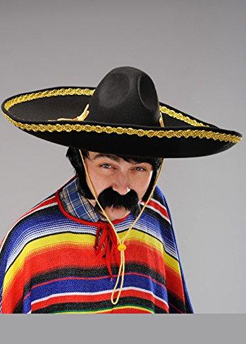 40cfc4a39d6b1 Sombrero Sombrero mexicano adulto negro y oro - Disfraceslandia