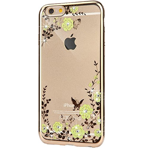 iPhone 6S Plus Silicone Coque,iPhone 6S Plus (Not Pour iPhone 6S/6 4.7 Pouce)Bling Diamant Coque en Silicone Coque Clair,EMAXELERS iPhone 6 Plus / 6S Plus Silicone Case Silver Slim Soft Gel Cover with Butterfly Flower Series 2