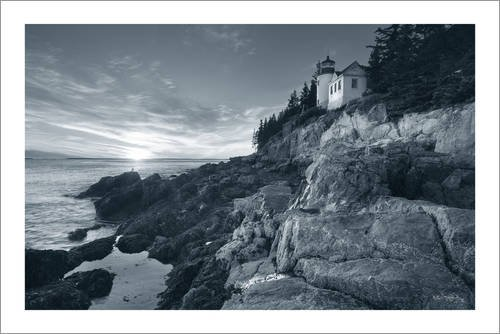 Posterlounge Leinwandbild 180 x 120 cm: Bass Harbor Head Sunset von Alan Majchrowicz/Wild Apple Graphics - fertiges Wandbild, Bild auf Keilrahmen, Fertigbild auf echter Leinwand, Leinwanddruck
