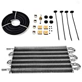 Aramox Car Oil Cooler Radiator, 6 Row Remote Transmission Oil Cooler Kit Auto-Manual Radiator Converter