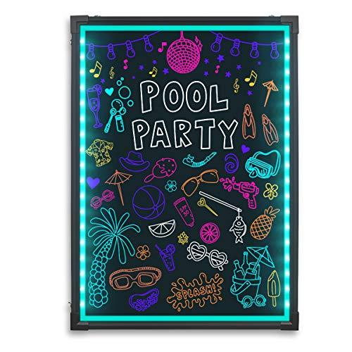 Schreiben Board, beleuchtet radierbar Neon Effekt Restaurant Menu Schild mit 8 Farben Marker, 7 Farben Blinklicht-Modus DIY Nachricht Kreidetafel für Küche Hochzeit Promotions 5070 ()