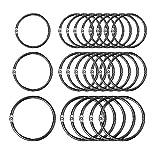 60 pièces anneaux de livre en métal articulés bagues de reliure en vrac Anneau porte-clés pour album/album/artisanat, 3 tailles (1 pouce, 1,2 pouce, 1,8 pouces)