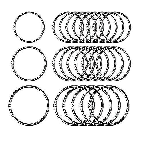 60 Stück Buch Ring Loseblatt Verbinder Ringe,3 größen (1 Zoll, 1,2 Zoll, 1,8 Zoll)
