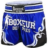 BOXEUR DES RUES Fight Activewear Shorts de Kick-Thai con símbolos Tribales Azul Turquesa Talla:Large