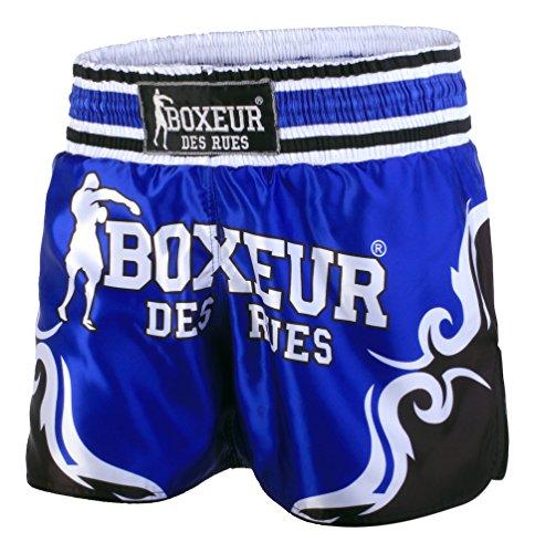 BOXEUR DES RUES Fight Sportbekleidung Shorts Kick-Thai mit Symbolen Tribal S Blau
